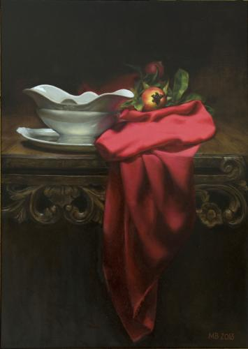 Red drape and white dish - Marilyn Bailey