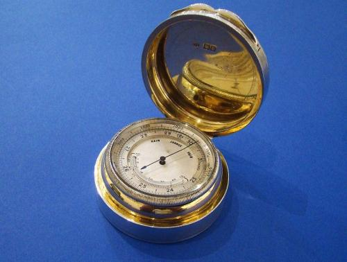 Edwardian Silver Barometer, Thermometer & Altimeter