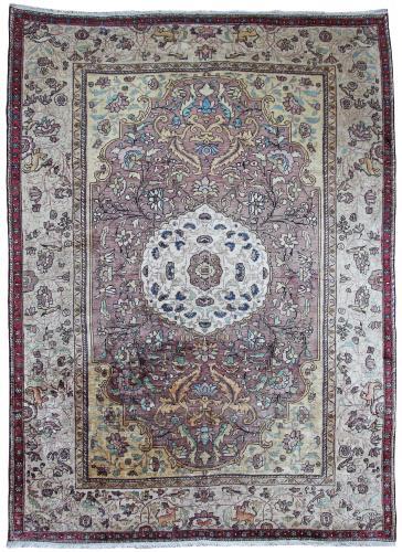 Antique silk Fereghan rug