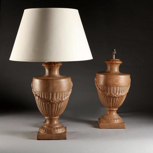 A Pair of Terracotta Urn Lamps