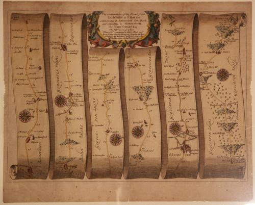 A road map from Britannia,1675/6. No 15. The road from London to St Davids, showing Fifield to Gloucester