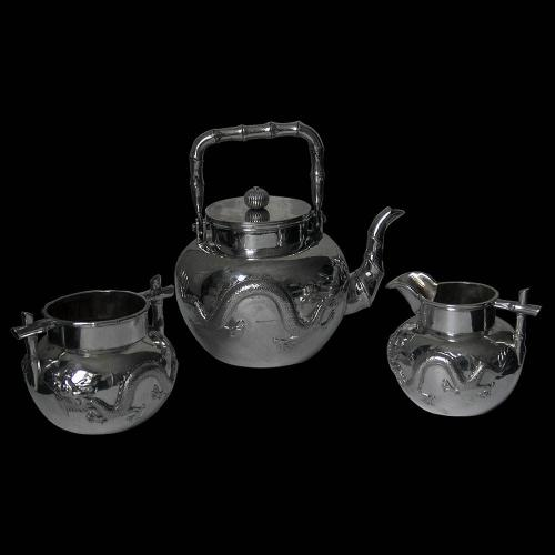 Chinese Export Silver 3 Piece Tea Set