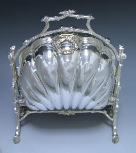 ANTIQUE VICTORIAN SILVER-PLATED BISCUIT BOX