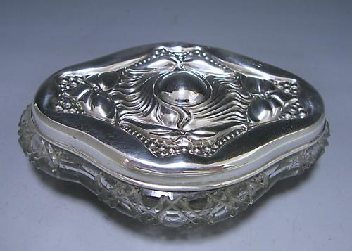 An Art Nouveau Silver and Glass Dressing Table Jar