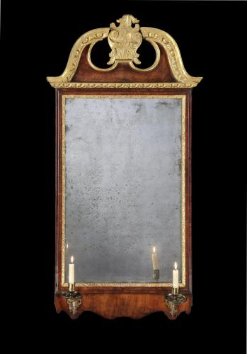 George II Period Walnut and Parcel Guilt Mirror/ Looking Glass