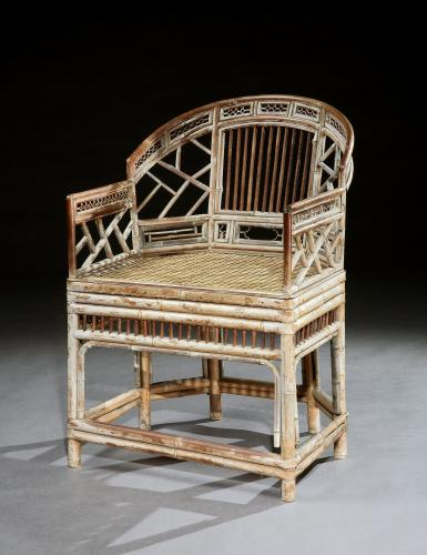 Regency Period Chinese Cantonese Bamboo and Cane Armchair a la Brighton Pavilion