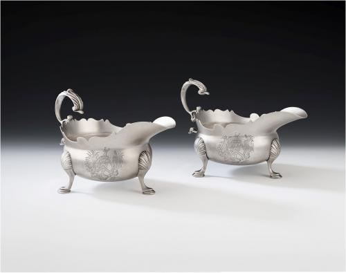 NEWCASTLE. A very fine pair of George II Sauceboats made in Newcastle in 1748 by Isaac Cookson
