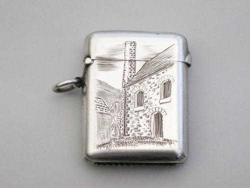 Edwardian Silver Vesta Case - Seamless Non-Choke - Engraved Mill House Scene