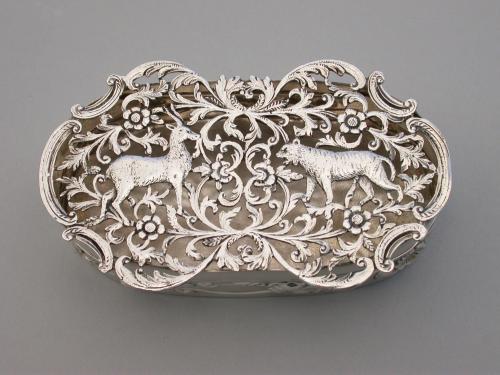 Edwardian Art Nouveau Silver Pot Pourri Box - Antelope & Tiger