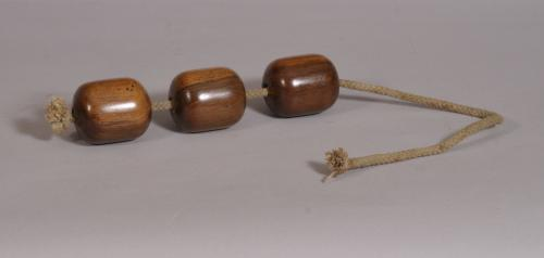 S/3579 Antique Treen 19th Century Set of Three Lignum Vitae Plumber's Dollies