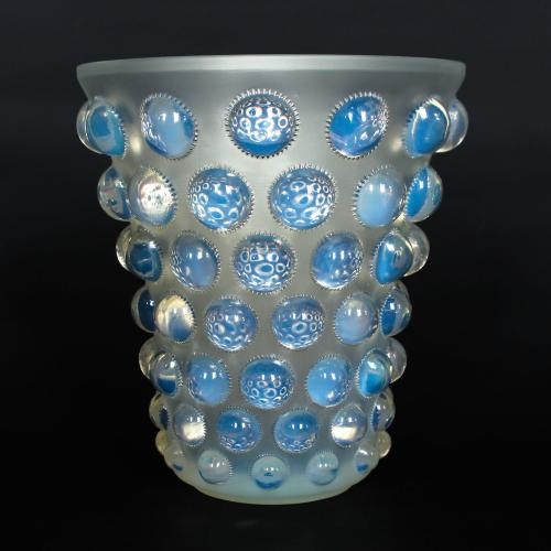 Bammako, an Art Deco opalescent and moulded glass vase by René Lalique. Relief decorated with raised roundels   Stencil etched R