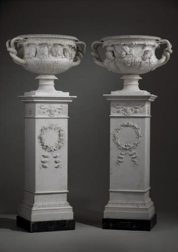 Lorenzo Bartolini (1777 – 1850) Florence, circa 1815 - 1830  'The Forbes of Pitsligo Vases', with Corresponding Plinths