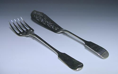 Pair of Victorian Antique Silver Fish Servers