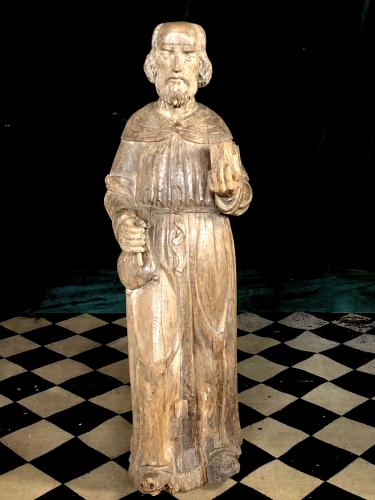 Large Wood Carving Of A Saint England, C.1500