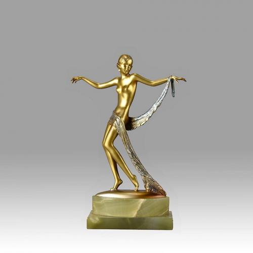 "Austrian Art Deco Cold Painted Bronze ""Dancer with Scarf"" by Josef Lorenzl"