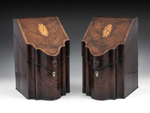 Pair of Georgian Cutlery Boxes (also known as Knife boxes) veneered in rich flame Mahogany with