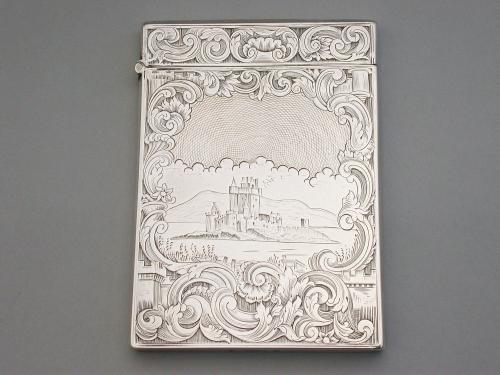 Victorian Scottish Silver Castle-Top Card Case - Loch Levan Castle