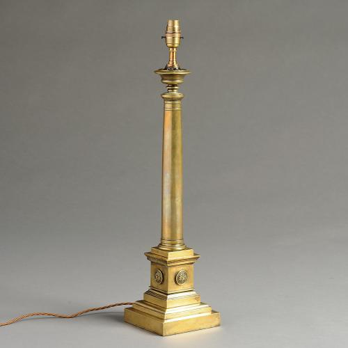 Regency Brass Column Lamp