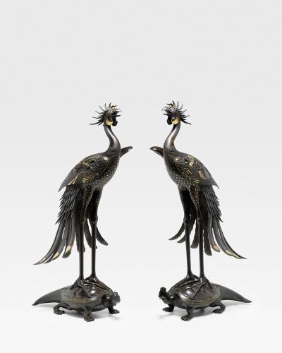 A Rare Pair of Large Bronze Hoo Bird and Tortoise Okimono Ornaments