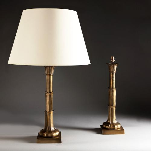 A Large Pair of William IV Column Lamps