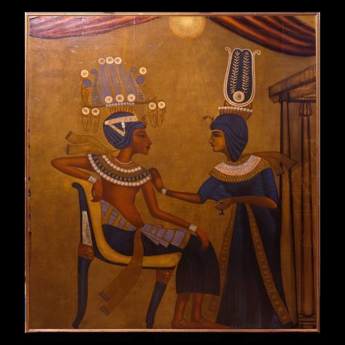 Mid 20th Century Continental School Egyptian Scene Oil On Canvas