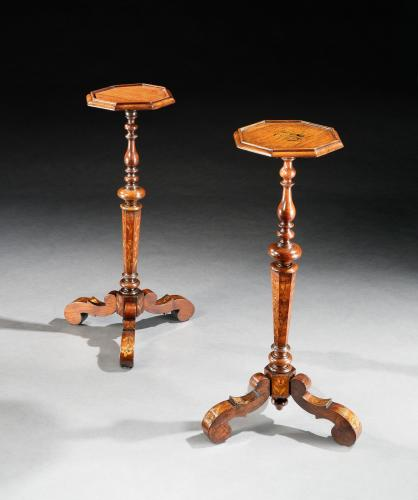 A near pair of late-17th century, walnut marquetry candlestands or torcheres