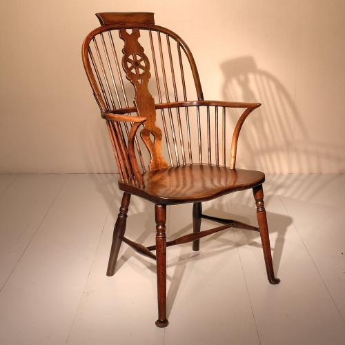 Early 19th Century Ash Wheel Back Thames Valley Arm Chair