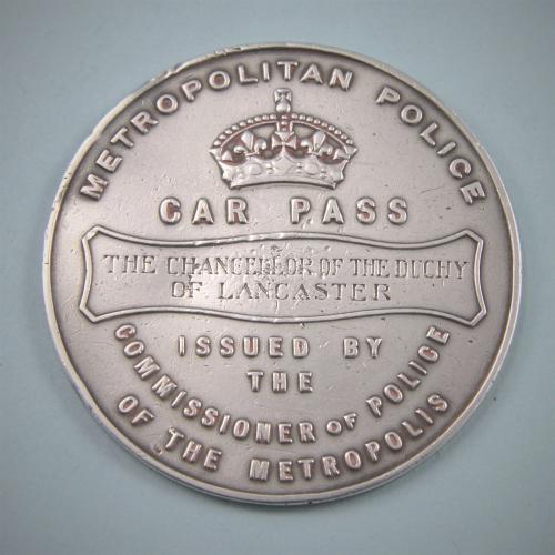 VICTORIAN Rare Silver Metropolitan Police Pass