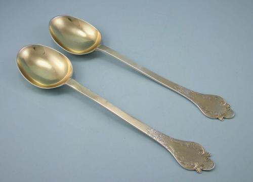 VICTORIAN Britannia Standard Silver Gilt Fruit Spoons by George Adams. London 1861