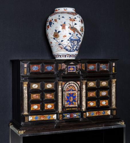 17TH CENTURY ITALIAN GILT -BRONZE - PIETRE DURE AND MARBLE MOUNTED EBONY CABINET