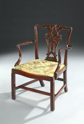 FINE , PURE CHIPPENDALE PERIOD CUBAN CARVED MAHOGANY ARMCHAIR