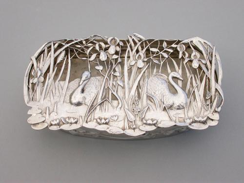 Edwardian Art Nouveau Silver Pot Pourri Box - Pair of Swans on a Pond