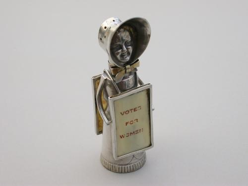 Edwardian Novelty Silver Suffragette Pepper
