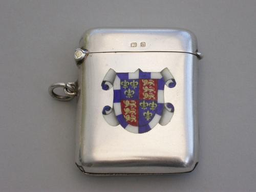 Edwardian Silver & Enamel Vesta Case - St John's College, Cambridge