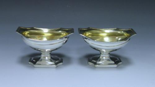Pair of George III Antique Sterling Silver Salts