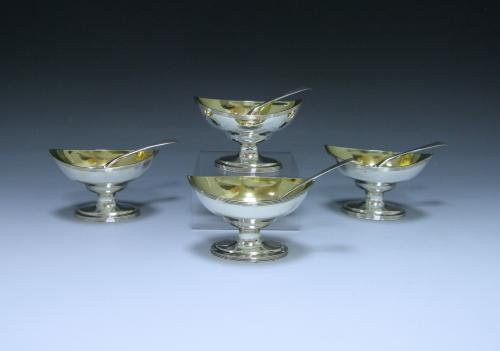 Set of Four George III Antique Sterling Silver Salts