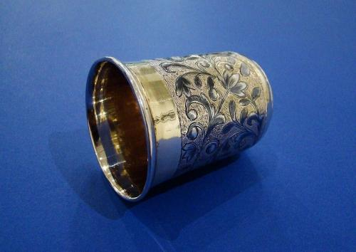 Russian Gilded Silver & Niello Vodka Cup