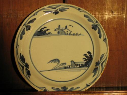 An early-18th century, delftware plate