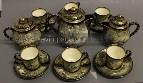 fine japanese satsuma tea set signed kinkozan