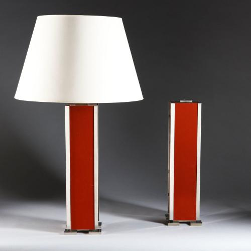 A Pair of Red Lacquer Lamps after Maison Charles