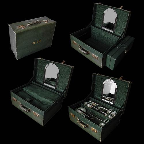 An Art Deco Silver and Enamel Dressing Set in Original Leather Carry Case