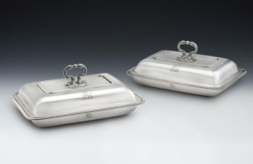 An extremely fine pair of George III Entree Dishes made in London in 1800 by Richard Cooke
