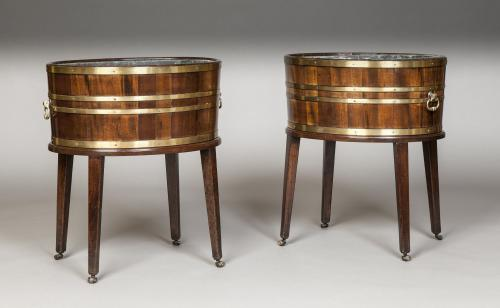 Rare Pair of Georgian Period Oval Wine Coolers / Jardinieres