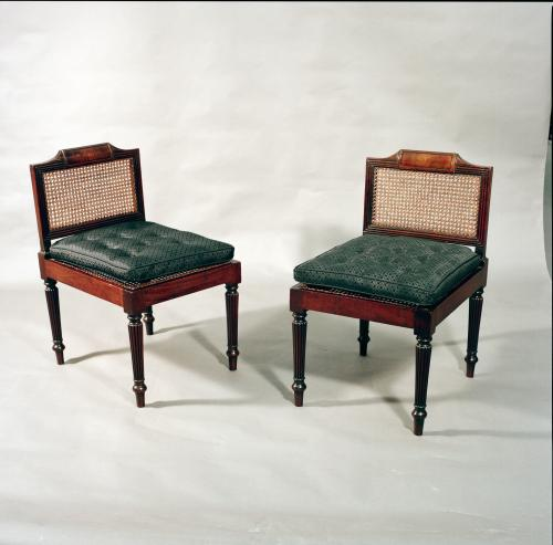Rare Pair and Possibly Unique Pair of Georgian, Cuban Mahogany Library Hall Seats