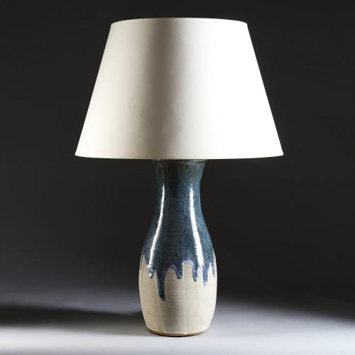 A Blue Slip Glaze Art Pottery Vase as a Lamp