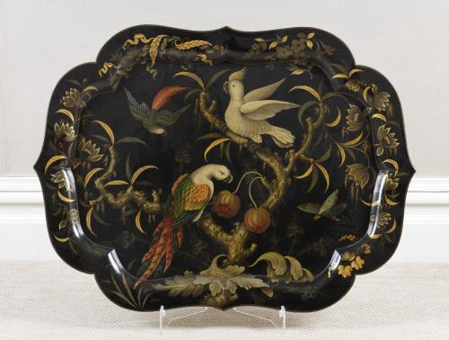 Exceptional Flora and Exotic Birds Finely Painted Paper Mache Tray