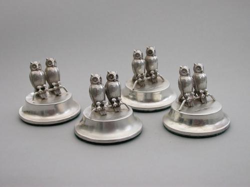 Set Four Edwardian Silver Owls Menu Holders