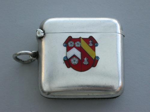 George V Silver & Enamel Wadham College Oxford University Vesta Case