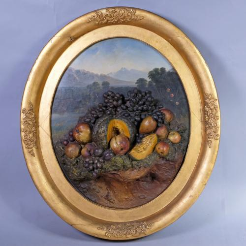19th Century Landscape Scene with Plaster Fruit
