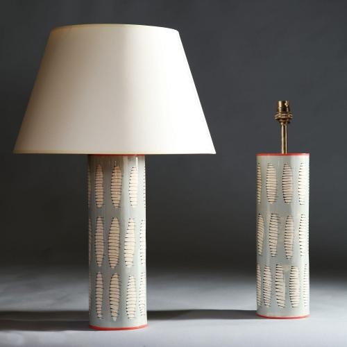 A Pair of Art Pottery Lamps with Abstract Leaf Motif